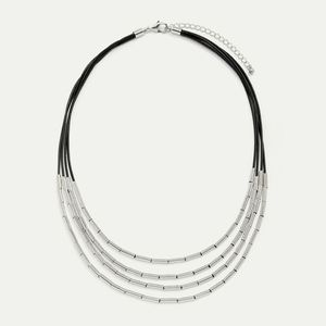 NWT multi row necklace with metal tubes